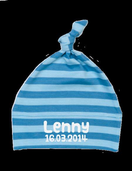 Babychäppli gestreift Hellblau
